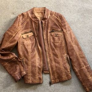 Beautiful leather jacket rustic distress color XL